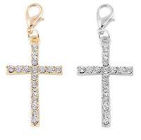 20pcs / lot Silver Gold Chapado Chapado Rhinestones Cross Floating Colgante Charms Ajuste para la fabricación de joyas de la Joyería Magnética Flotante