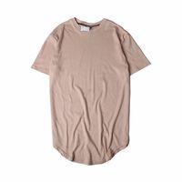 T-shirt dos homens Oi-Street Sólida Curvo Curvo T-shirt Homens Longline Estendido Camuflagem Hip Hop Tshirts Urban Kpop Tshirt
