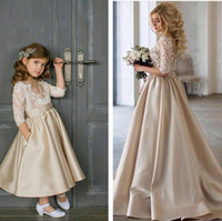Champagne Flower Girls Dresses For Weddings 3 4 Long Sleeves...