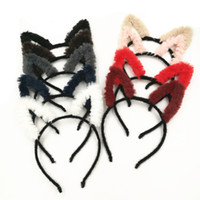 2018 New Winter Faux Fur Cat Ear Fasce per capelli solidi Hairbands Dance Band per capelli Accessori per ragazze 20pcs / lot