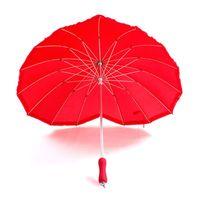 Güzel Kalp 16 K Firma Katı Kırmızı Düz Güneş Şemsiye Yağmur Kadınlar Gelin Şemsiye Araçları Hediye Düğün Dekorasyon ZA3545