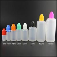 Оптовая пластиковые бутылки капельницы 5 мл 10 мл 15 мл 20 мл 30 мл 50 мл 100 мл 120 мл мягкий PE vape e сок E жидкие бутылки с защитой от детей крышка