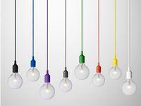 مصباح قلادة ملون 1 رئيس متعدد الألوان سيليكون E27 أضواء قلادة الفن قلادة للمطاعم الحديثة مطعم غرف نوم تسوق مول