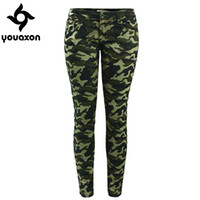 Wholesale- 2019 Youaxon Women`s S-XXXXXL Plus Size Chic Camo Army Green Skinny Jeans For Women Femme Camouflage Cropped Pencil Pants