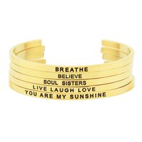 2017 nova chegada! 316L de aço inoxidável gravado positivo positivo citação inspirada pulseira de jóias de ouro feminina