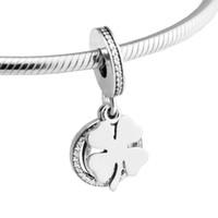 925 bijoux en argent sterling jour chanceux jour CZ perles de perles de trèfle trèfle Fit Pandora Bracelet collier pour femme bricolage fabrication charme