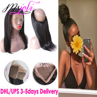 Human virgin hair 360 lace frontal full closure straight fre...