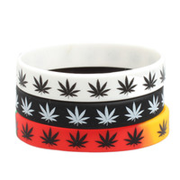 Fashion Rasta Reggae Wristband Silicone Maple Leaves Wrist B...