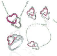 Duplo coração cristal jóias de casamento strass coração pingente colar brincos anel pulseira conjunto de cristal amor coração nupcial conjuntos de jóias