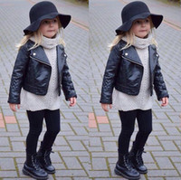 Girl' s Faux Leather Look Jacket Size 2 - 7 Motorcycle B...