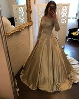 Champagne Lace Appliques Prom Dress with Long Sleeves elegan...