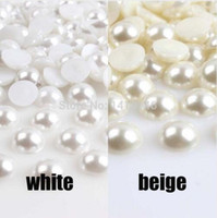 Envío gratis 3/4/6/8/10 / 12mm BLANCO / Beige Half Round Pearl Flatback cabochons perlas para Scrapbook Craft 3mm ABS BMZZB03m
