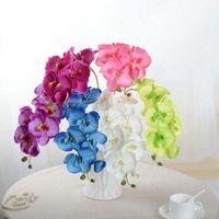Оптовая и искусственная искусственная бабочка орхидеи шелковый цветок букет фаленопсис свадебный дом декор моды DIY гостиная искусство украшения