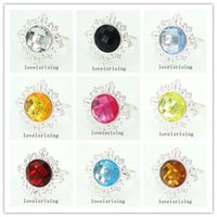 22 Colors pick- - 50pcs lot Acrylic Gem Silver Metal Rings Nap...