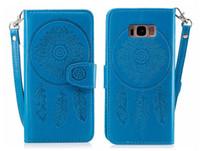Flip for Samsung Galaxy S5 S6 S7 Edge S8 Plus Case Cover Card Wallet Dreamcatcher Peacock för Galaxy S8 Plusfall