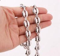 buon prezzo Pure acciaio inossidabile Fashion Slver tono chicchi di caffè Collana a catena 10.5mm 24 '' alta lucido per gioielli da uomo
