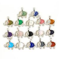 Elefant Anhänger Halskette Kette natürlichen Edelstein Kristall Anhänger Lapislazuli Opal etc Pendulum Charms Reiki Schmuck