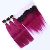 Indian Borgoña Encaje Frontal Cierre con paquetes de cabello Color Seda roja Recta Cabello humano teje con encaje Frontal 13 * 4 nudos blanqueados