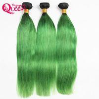 # T1B الزمرد الأخضر أومبير البرازيلي مستقيم الشعر البشري حزم البرازيلي العذراء الانسان الشعر 3 حزم أومبير الشعر نسج