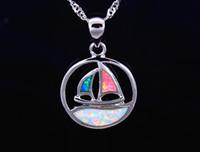 Vente en gros au détail de bijoux de mode Fine Multi Fire Opal Voilier Stone Sliver Pendentifs et Collier Pour Les Femmes PJ17082718