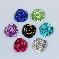 100 STÜCKE 20mm Rose blume Form Acryl Strass Kristall flatback perlen Schmuck Handwerk Dekoration DIY ZZ217