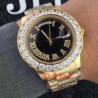 18K الذهب الرئيس الفاخرة اليوم تاريخ كبير ووتش الرجال غير القابل للصدأ الطلب الهاتفي الماس الحافة التلقائي مصمم ساعات اليد