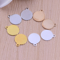 Wholesale Copper Blank Stamping Tags Charms Round 4 colors c...