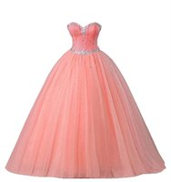 2017 Sexy Pink Coral Ball Gown Quinceanera Dresses with Bead...