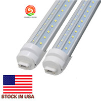 Stock en EE. UU. + 8ft led r17d Cooler Door Led Tube en forma de V Filas dobles SMD2835 Led Light Tube 270 Angle AC85-265V