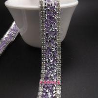 Nuovi prodotti 1,5 cm moda Viola moda cristallo trasparente strass trim applique da sposa pizzo assetto cortile