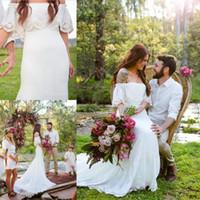 2018 Bohemian Country Mermaid Abiti da sposa in pizzo fuori dalla spalla su misura Vestidos de Novia Vintage Bridal Gowns