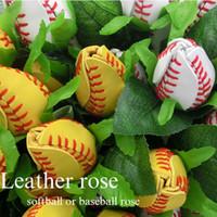 ¡Rosas de béisbol de softball hechas de bolas de softballs reales! Softbol Baseball Cuero Roses Ramo de deportes Diversión