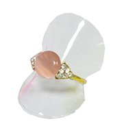 Venta al por mayor 100 unids / lote Exhibición de la Joyería Anillo de Plástico Transparente Holder Hoja 38mm Dia Set Card
