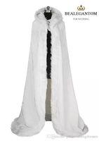 2018 bianco da sposa avvolge giacche inverno pelliccia donne giacca da sposa lunghezza del pavimento mantella lunga festa cappotto di nozze