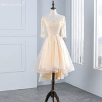 Длинные рукава Высокий Низкий Золотой Шнурок Коктейльные платья длиной до колена оболочки Короткое платье Формальные Exposed Коктейльные платья обвалки