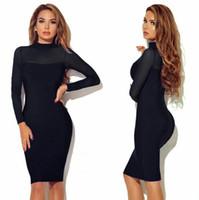 Güzel hediye sonbahar ve kış kadın pist elbiseler patlama uzun kollu perspektif seksi gece kulübü elbise NLX012