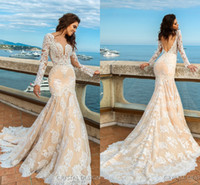 2017 New Design Lace Mermaid Wedding Dresses Sheer Neck Long...