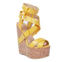 Mode Kolnoo Femmes À La Main 15 cm Ciel Wadge Talon Crosscriss Bretelles Sandale De Partie Sexy Chaussures Blanc XD056