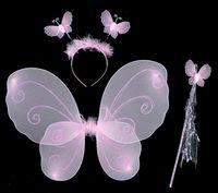 Дети девушки Крылья Ангела костюм Фея бабочка крыло набор Хэллоуин косплей оголовье + волшебная палочка + крыло бабочки 3 шт./компл. G458