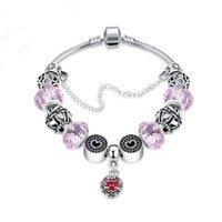 Braccialetto di fascino all'ingrosso Braccialetti di Charme Chamilia colorati europei Braccialetto di cristallo di perline fatti a mano di DIY di rosa americano europeo di modo