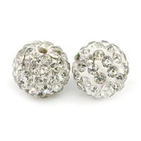 Ploymer Clay Shambhala Disco Ball Beads Half forato Round 6 Righe di cristallo di strass Shamballa per orecchini per fare 100pcs / bag
