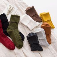 1 porción = 20 pares de alta calidad de las mujeres calentadores de la pierna del estilo de la vendimia del color puro calcetines cortos de arranque