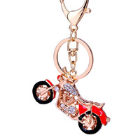 5PCS Creative Rhinestone Motorcycle Keychain Novelty Fashion Alloy Car Key Chain Ring Holder Women Bag Charm Gift Wholesale R131