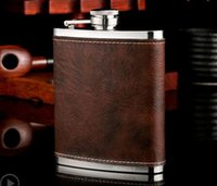 Stainless Steel Hip Flask Leather Whiskey Wine Bottle Retro ...