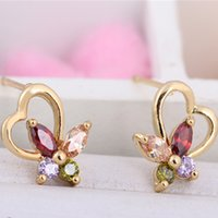 Fashion Yellow Gold Plated CZ Earrings for Women Jewerly Butterfly Stud Boucle d'oreille Christmas Gifts Brincos for Women