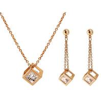 Braut Silber Schmuck Sets Quadratische Form mit Big Cubic Zircoina Anhänger Halskette Ohrringe Frauen Prom Abend Hochzeit Schmuck