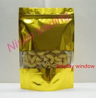 22*30cm, 100pcs/pack X Gold Stand up aluminum foil ziplock bag with clear window-mylar plating milk powder/Lollipops packing poly sack