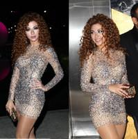2019 Myriam Fares robes de haute qualité voir à travers des robes de soirée de célébrités col haut cristal perlée courte Prom Party robe de cocktail robes