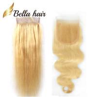Bella Hair® # 613 Cierre de encaje rubio con pelo bebé recto brasileño cabello humano Cierre superior 4 * 4 Lace Blonde Body Wave