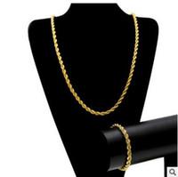 Männer Hip Hop 6.5mm Hanf Kette HIPHOP ROPE KETTE 14K Gold versilbert Armband Halskette Set